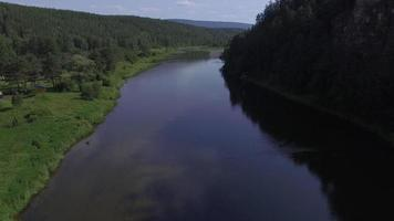 Forest river . Russia. Aerial view