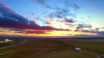 Breathtaking midwest winter sunset over farms and fields video