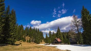 time-lapse in het vroege voorjaar in een zonnige hoge vallei