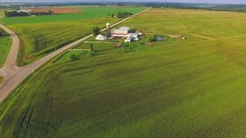 American Heartland, Midwest Aerial View, Landscape With Farms, Silos