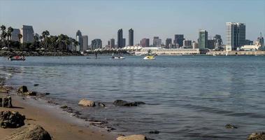 San Diego Stadt Skyline Dämmerung Mondaufgang Zeitraffer video