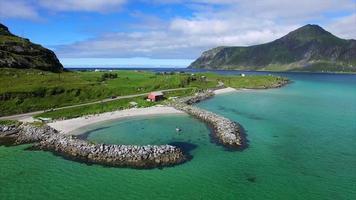 Picturesque harbor on Lofoten islands in Norway