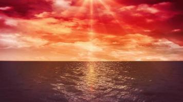 animazione al tramonto sull'oceano