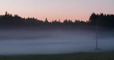 laps de temps de brouillard s'écoulant entre les lignes électriques