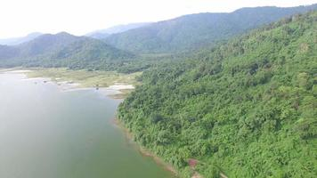 Aerial view of Huai Preu reservoir in Nakhon Nayok district, Thailand. video