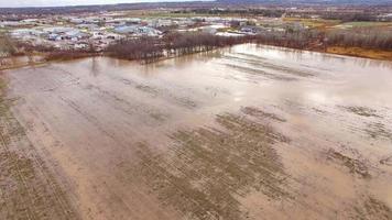 grandes inundações colocam campos agrícolas sob água lamacenta, vista aérea video