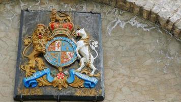 El antiguo escudo de armas en la muralla de Fort Niágara. video