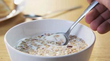 Muesli mixed with a Spoon video