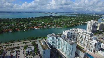 Video aéreo condominios frente al mar en Miami Beach.