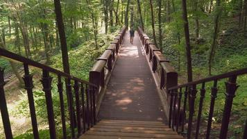 um jovem do sexo masculino caminha em uma ponte no parque e sobe as escadas