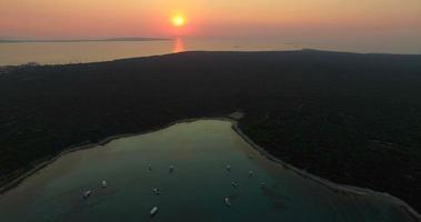 Aerial view of beautiful sunset in Slatinica bay at Olib Island