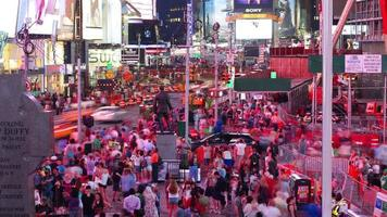 times square multidão noturno 4k time lapse de nova york video