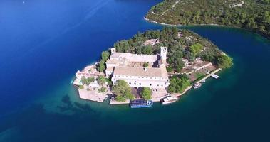 Aerial view of Benedictine monastery on Mljet island video