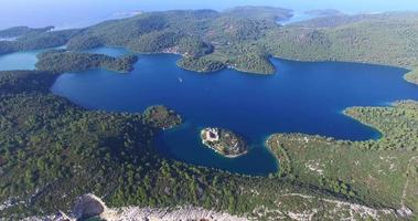 Aerial view of St. Mary island on island of Mljet video