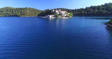 Aerial view of St. Mary island on island of Mljet, Croatia video