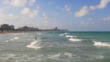 Estados Unidos día de verano miami south beach ocean panorama 4k florida