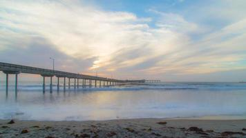 Ocean Beach Pier Sunset à San Diego, Californie, time-lapse