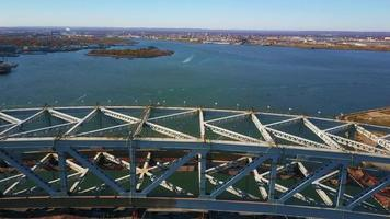 Aerial View Bridge Construction and Boat 4K video