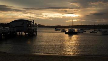 Australie coucher de soleil au port: time lapse