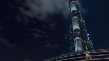 Night light dubai world plus haut bâtiment vers le haut 4k time lapse usa
