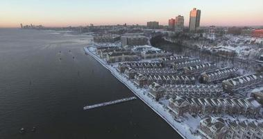 weehawken snow 2016 fly vista all'indietro delle case fronte fiume video