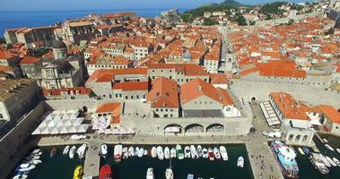 Aerial view of Old town harbour in Dubrovnik