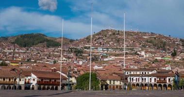 Timelape de la plaza principal de Cusco en Perú