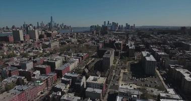 hoboken nj panoramica a destra dei grattacieli con manhattan in vista