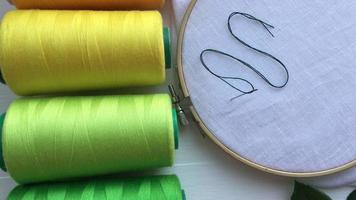 Spools of thread and a white fabric in the wooden embroidery frame for needlework video