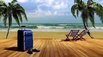 a viagem ao mar, relaxando na praia sob as palmeiras