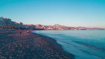 Spanien Malaga Sonnenuntergang Strand Panorama 4k Zeitraffer