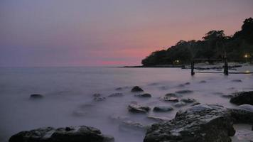 Tim lapse - Foamy sea sunset in Koh Kood, Thailand