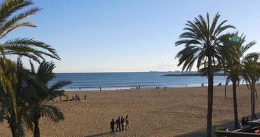 sonniger Tag Barcelona Walking Strand Panorama 4k Spanien