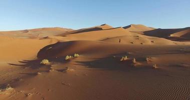 4k Luftbild eines männlichen Touristen, der über die Sanddünen in der Namib-Wüste innerhalb des Namib-Naukluft-Nationalparks geht