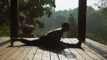 yogi seduto in un parco nelle spaccature e pregando