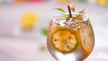 Drink decorated by small flower. video