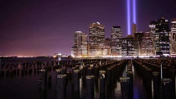 night light 11 september memorial symbol 4k time lapse from manhattan