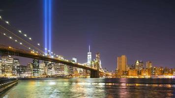 night brooklyn bay towers of light 11 de setembro 4k hora lpase de nova york
