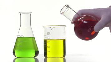 versamento di un liquido rosso in un becher liquido giallo