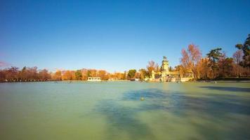 luz solar madri retiro parque lagoa vista panorâmica 4k time lapse espanha video