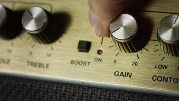 Press boost button on guitar amplifier video