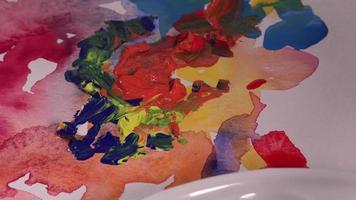 mistura de várias cores guache