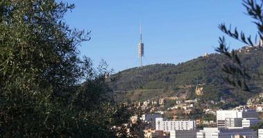 Barcelona City Sonnentag Fernsehturm Blick 4k Spanien video