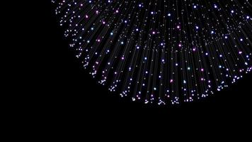 metamorfosi della superficie amorfa da particelle incandescenti, ondulazione sferica della superficie, animazione astratta della forma futura