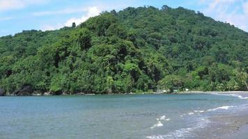 vista panoramica della spiaggia esotica con montagne, trinidad, trinidad e tobago