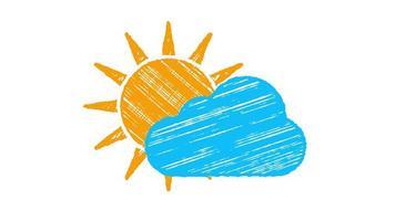 se ícone nublado, sol e nuvem azul pintada com giz isolado no fundo branco, animação desenhada à mão 4k