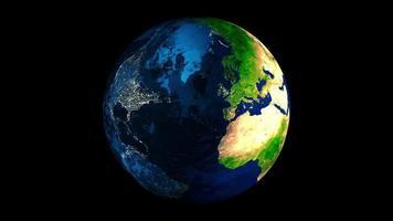 Clip einer rotierenden Erde mit Übergang von Tag zu Nacht 4k video