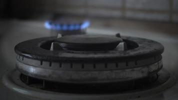 Gas burning stove in the house for food cooking video