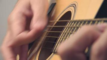 Hand picking strings on acoustic guitar video