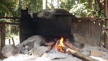 cocinar alimentos sobre un fuego de leña